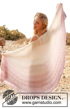 """Knitted DROPS shawl with dropped sts and tinted stripes in 2 threads """"Vivaldi"""". ~ DROPS Design"""