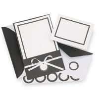 "This kit includes 25 5-1/4"" x 8-1/4"" white card stock invitations with a simple, elegant black border with coordinating black jackets, whit..."
