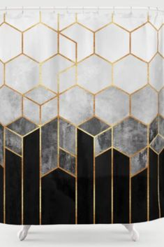 Charcoal Hexagons Shower Curtain by elisabethfredriksson Black White And Gold Bedroom, Black And Gold Bathroom, Black Bathroom Decor, Gray And White Bathroom, Black Decor, Black White Gold, Gold Shower Curtain, Black Shower Curtains, Gold Curtains