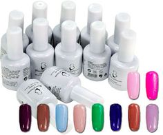 10 bright Colour UV Soak Off Gel Plus Top & Base Coat from MissLIpLash Soak Off Gel, Base Coat, Nail Tech, Gel Polish, Colour, Nails, Top, Beauty, Pastel