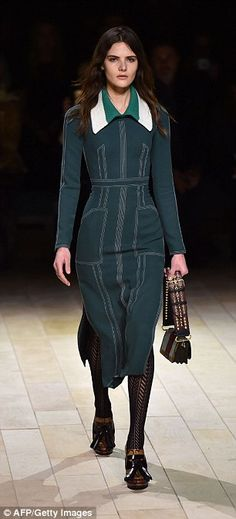 A model presents a creation during the Burberry Prorsum catwalk show...