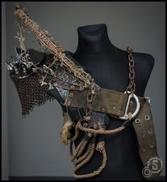 One of a kind, unique postapocalyptic shoulder piece built on modified football half-pad. This is the original shoulder piece that was used in