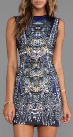 Round Neck Sleeveless Bodycon Printed Women's dress