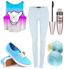 Night with friends by a19hawthorne on Polyvore featuring polyvore fashion style 7 For All Mankind Vans Maybelline Eos
