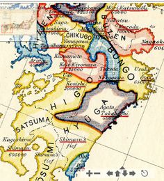 Detail of Kyushu from map of Japan. c. 1600