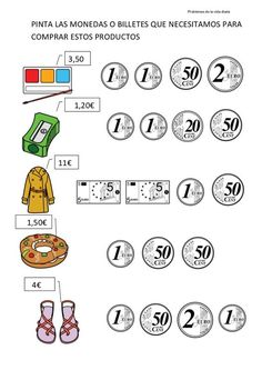 8 problemas+con+euros Primary Activities, Preschool Learning Activities, Teaching Math, Money Worksheets, Kids Math Worksheets, Go Math, Math For Kids, Pi Day Facts, Homeschool Math