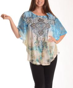 Another great find on #zulily! Blue Geometric Flare Dolman Top - Plus by Shoreline #zulilyfinds
