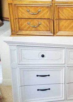 Pecan dresser redo w before and after pictures. Other furniture redos here too