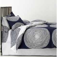 Marimekko Pippurikera Navy Bed Linens in Bed and Bath | Crate and Barrel