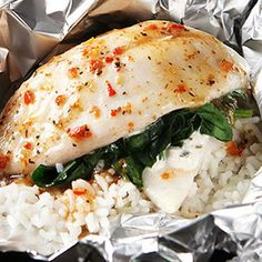 Foil-Pack Fish Florentine @keyingredient #cheese