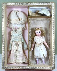 French All Bisque MIGNONETTE in Presentation Box with Extra Clothes