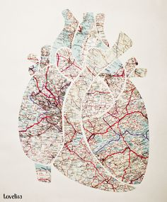 Coeur anatomical heart made out of maps paper cutouts