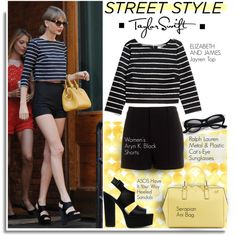 Street Style: Taylor Swift by hamaly on Polyvore featuring Elizabeth and James, Aryn K., Ralph Lauren, Serapian, StreetStyle, taylorswift, stripes, BloggerStyle and celebstyle