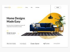 Spacejoy - Interior Design Landing Page UI - - Spacejoy is an interior designing and online furniture selling company for which the landing page is designed. Layout Design, Portfolio Design Layouts, Site Portfolio, Site Web Design, Web Banner Design, Web Layout, Ad Design, Media Design, Web Banners