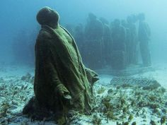 Photograph by Jorge Silva, Reuters, Cancun Underwater sculpture garden promoting ecology and sustainability via National Geographic- via Jay Go Under The Water, Under The Sea, Underwater Sculpture, Underwater Art, Underwater Photography, Oh The Places You'll Go, Places To Travel, Places To Visit, National Geographic