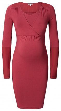 Tehotenské / dojčiace šaty s dlhým rukávom ESPRIT MATERNITY - tmavočervená
