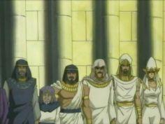 Aknadin, Shimon Muran, Atenza, Kepura, Secmenton and Sehka the Sacred Guardians under Pharaoh Aknamkanon standing alongside their Pharaoh on a balcony addressing the soldiers whom serve in the Pharaoh's Military.