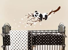 Panda on Blossom Branches Nursery Wall Vinyl by ababywall on Etsy, $30.00>>  For the love of Pandas!! Very sweet!
