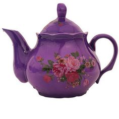 Bright floral teapot by lavender room.