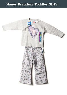 Hanes Premium Toddler Girl's Sweatshirt and Pant Set Grey 2T. This Hanes Premium Toddler Girl's SweatShirt and Pant set contains one pair of Toddler Girls's Floral Fleece Sweatpants. These are premium Hanes pants made with EcoSmart Fibers and feel soft due to the rich cotton content. There is a comfortable elastic waistband. The matching long sleeve sweatshirt is comfortable for all day wear and adds a girly look with its graphic print! This makes a great gift that your toddler will love...