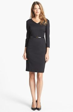 Jones New York 'Scarlet' Ponte Sheath Dress | Nordstrom  *** Great office dress, love the V-neck for you.  Dress it up or down!