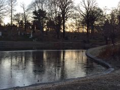 Lake at Greenwood cemetery. Greenwood Cemetery, Frozen, River, Celestial, Sunset, Outdoor, Beautiful, Outdoors, Sunsets