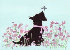 Scottie (scottish terrier) investigating butterflies / Lynch signed folk art print by watercolorqueen on Etsy Animals And Pets, Cute Animals, Poster Prints, Art Prints, Westies, Little Dogs, Dog Art, Illustrations, Puppies