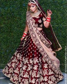 Lovely Wine & Maroon Raw Silk Lehenga Choli with Zari & Resham Embroidery Indian Bridal Outfits, Indian Bridal Fashion, Indian Bridal Wear, Indian Wedding Lehenga, Bridal Lehenga Choli, Silk Lehenga, Indian Anarkali, Punjabi Wedding Dresses, Lehenga Wedding Bridal