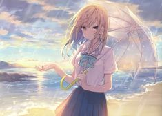 Anime picture 3878x2777 with   		original  		reia  		long hair  		single  		blush  		looking at viewer  		highres  		blonde hair  		fringe  		sky  		cloud (clouds)  		standing  		holding  		absurdres  		black eyes  		scan  		pleated skirt  		beach  		rain  		multicolored eyes