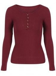 Gamiss - Gamiss Buttoned Long Sleeve Pullover Knitwear - AdoreWe.com
