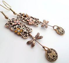Bohemian Dragonfly dangle earrings, Victorian dragonfly earrings, vintage button earrings, filigree, gypsy, fantasy earrings, drop earrings