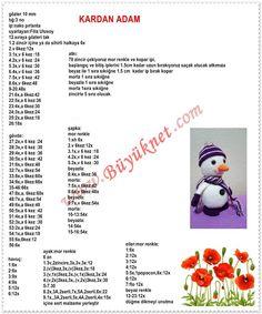 Amigurumi kardan adam açıklamas Christmas Crochet Patterns, Crochet Doily Patterns, Crochet Animal Patterns, Stuffed Animal Patterns, Amigurumi Patterns, Doll Patterns, Crochet Birds, Crochet Dolls, Crochet Keychain
