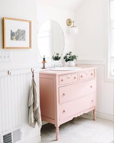 """922 Likes, 11 Comments - Kate Arends (@witanddelight_) on Instagram: """"Love that blush! @burtsbrisplease DIY repurposed pink dresser as a bathroom sink and vanity is one…"""""""