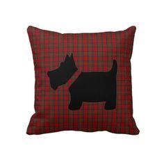 Royal Stewart Tartan Plaid and Scottie Dog Pillow