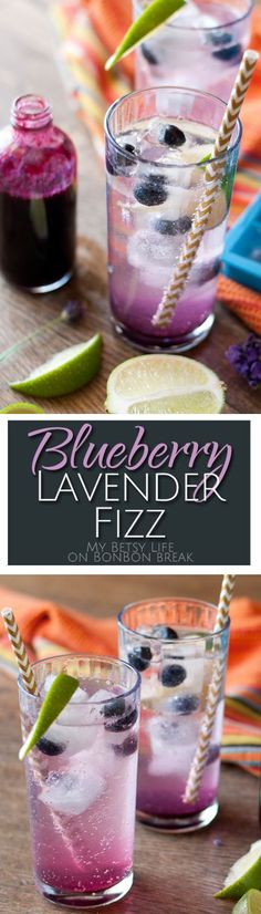 Blueberry Lavender Fizz Cocktails - These cocktails get a double dose of blueberry -- one as lavender-infused blueberry syrup and another as blueberry ice cubes that keep your beverage cold.