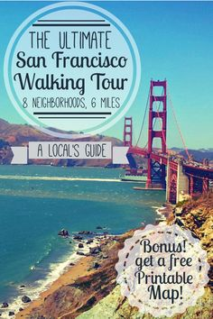 The Ultimate Self-Guided Walking Tour of San Francisco: A Local's Guide The Ultimate San Francisco Walking Tour! See 8 totally unique San Francisco neighborhoods in 6 miles. Plus, get a free printable map and directions! Baie De San Francisco, San Francisco Travel, San Francisco Must See, North Beach San Francisco, San Francisco Tours, San Francisco Food, Voyage Usa, Voyage New York, Places To Travel