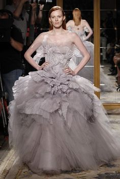 Dramatic tulle ballgown wedding dress. Love the taupe grey lavender color!!