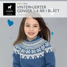 DSA57-08 Vinterhjerter genser i blått – Du Store Alpakka Baby Barn, Turtle Neck, Sweaters, Kids, Fashion, Scale Model, Toddlers, Moda, Boys