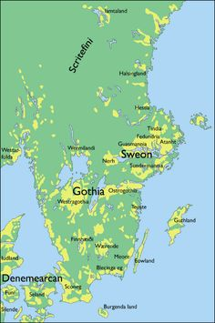 Map. Settlement Areas in the Viking Age (yellow) in south-eastern Scandinavia. Somewhat simplified for maps of Johan Callmer. Notable contemporary or near-contemporary names in country from Wulfstan's travel report (about 900), Adam of Bremen (ca. 1070) and the Florence list (about 1120). Teuste, Finnhæiði and Iamtaland are concepts from runic texts.