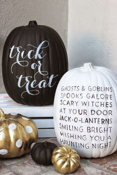 DIY: Painted Pumpkins: Sometimes carving is hard and some of us would rather paint! @LinenLaceLove took a mix of fake and real pumpkins, to make this painted pumpkin patch. http://www.rustoleum.com/product-catalog/consumer-brands/specialty/chalkboard-spray/