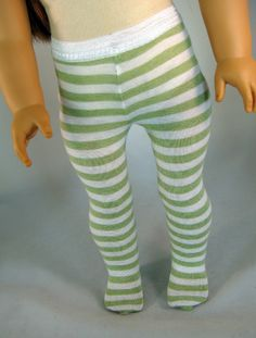 Lime Green Stripe Jersey Tights for American Girl or other 18 Inch Doll by PeacockSisters on Etsy