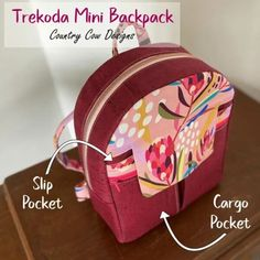 Trekoda Mini Backpack sewing pattern (with video). A small backpack that works for adults or children. Plenty of options to keep you occupied, for a rounded or boxy bag, and different front pocket choices too. Full video tutorial takes you through the whole process. Kids backpack sewing pattern. Small backpack sewing pattern. #SewModernBags #SewABackpack #BackpackSewingPattern #SewingVideo #SewABag #BagSewingPattern