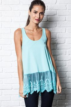 Umgee Ice Sleeveless Ribbed Tank Top with Lace Trim www.boutiqueataudreys.com