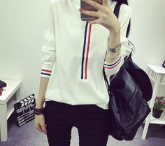 HotBlock - Ribbon Trim Long-Sleeved Shirt US$12.45