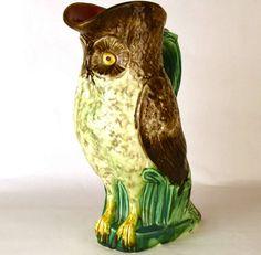 Rare Figural Owl Antique Mouzin Lecat Majolica Pichet/Pitcher from parisbrocante on Ruby Lane