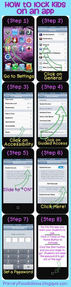 "Step by Step on how to lock your kids into apps on your iPhone/iPad/iPods! No more getting into things they are supposed to be in! And no more getting out of the app they are supposed to be in because they have discovered the ""home"" key. Teaching Technology, Educational Technology, Computer Technology, Classroom Organization, Classroom Management, Just In Case, Just For You, Up Book, Ms Gs"