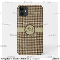 Shop Vintage Brown Houndstooth Pattern Case-Mate iPhone Case created by camcguire. Iphone 11, Apple Iphone, Hounds Tooth, Customizable Gifts, Textile Patterns, Retro Design, Iphone Case Covers, Vintage Shops, Weaving