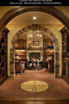 wine cellar and living area