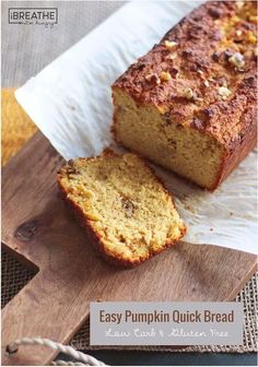 Quick and Easy Bread Recipe Beautiful Easy Pumpkin Quick Bread Low Carb & Gluten Free Ibih Low Carb Bread, Keto Bread, Low Carb Keto, Bread Baking, Paleo Baking, Low Carb Deserts, Low Carb Sweets, Quick Bread Recipes, Low Carb Recipes