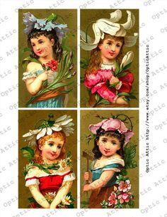 Spring Flower Girls 3 x 5 Rectangle Digital Collage